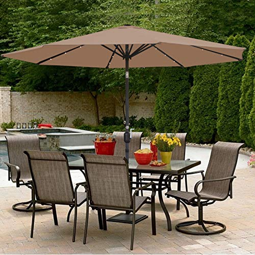 (SUPER DEAL 10FT Solar LED Lighted Patio Umbrella Outdoor Market Table Umbrella - Push Button - Tilt Adjustment&Crank Lift System - Aluminum Ribs for Patio, Garden, Backyard, Deck, Poolside, and More)