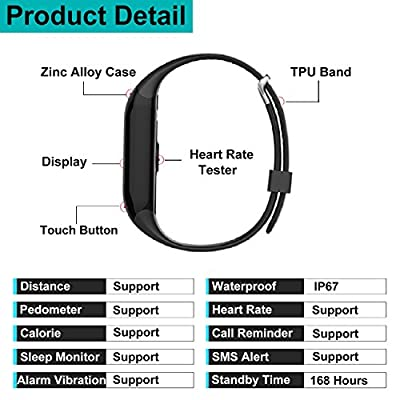 Fitness Tracker, YAMAY® Waterproof Bluetooth Smart Bracelet with Heart Rate Monitor Touch Screen Activity Tracker Pedometer Caller ID Sleep Calorie for Android iPhone Women Men for Swimming Black