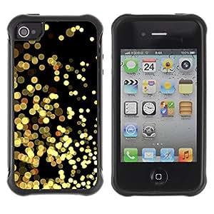 Híbridos estuche rígido plástico de protección con soporte para el Apple iPhone 4 / 4S - yellow lights gold sparkling black