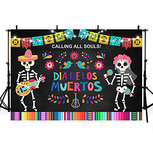 MEHOFOTO Dia de Los Muertos Party Decoration Photo Studio Booth Background Props Calling All Souls Day of The Dead Sugar Skull Mexican Fiesta Halloween Wedding Backdrop Banner for Photography 7x5ft