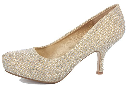 shoeFashionista Ladies Party High Heels Pointed Toe Court Evening Shoes Office Work Pumps Size Style 8 - Gold