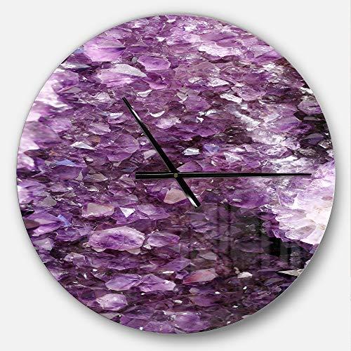 Modern Precious Metals - Designart Purple Precious Stones' Oversized Modern Metal Clock, Circle Wall Decoration Art, 23x23 Inches