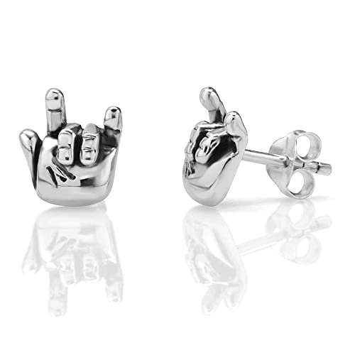 d8544a8cc Amazon.com: 925 Oxidized Sterling Silver Tiny I Love You Hand Sign 10 mm  Post Stud Earrings: Jewelry