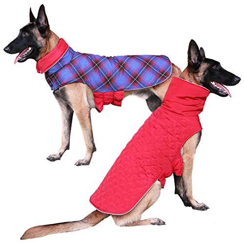 DENTRUN Dog Jacket Cold Weather Pet Apparel Winter Warm Coat Windproof Waterproof Reversible British Style Plaid Vest…