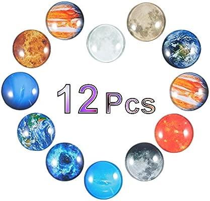 Garosa 12 Piezas de imanes planetarios para Nevera, diseño de Luna ...