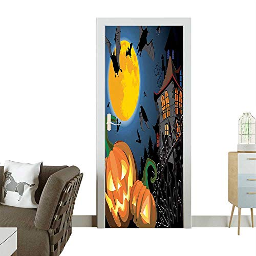 Homesonne Door Sticker Wallpaper Gothic Scene Halloween Haunted P y Theme Trick or Treat Kids Fashion and Various patternW30 x H80 -