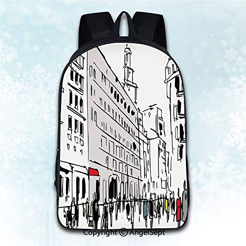 (Travel Rucksack Shoulder Bag Students,Urban Ink Illustration of Pedestrians on Busy Street with Buildings Modern Cityscape Grey Black White 16 inches,Daily Carry Multi-Purpose Knapsack)