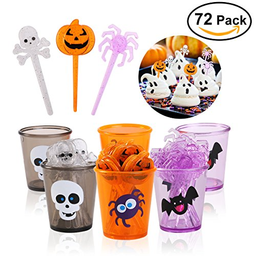 PBPBOX 72 Pack Halloween Food Picks 6 Cups Cupcake Toppers with Glitter Spider Pumpkin Skull (Cup Cake Halloween)