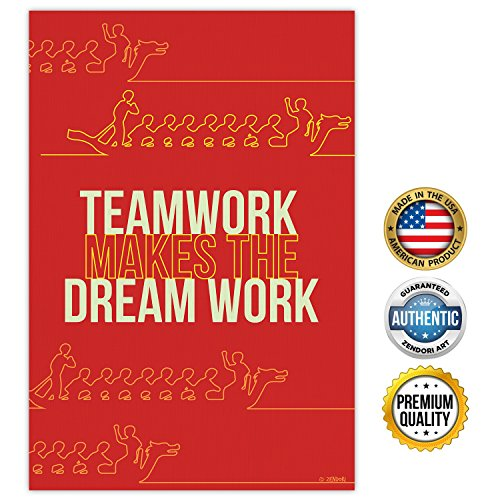 ZENDORI POSTER 'Teamwork Makes The Dream Work' Art Canvas Office Gifts 12 x 18 - Make Poster Large
