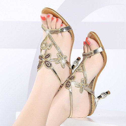 AJUNR Altos Delgados Wild Tacones Talón Word Verano Moda Elegante 9cm Sandalias Chicas Diamond 37 Transpirable 44vTwqrz