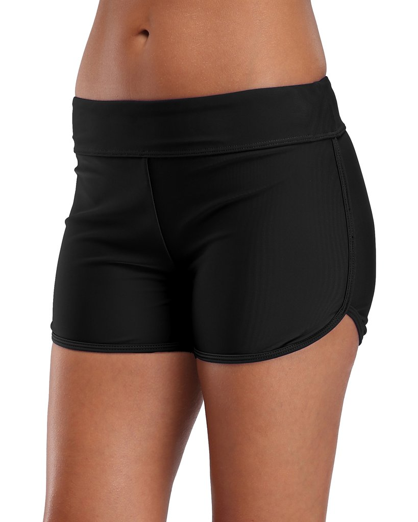 Sociala Womens Swimming Bottoms Bikini Briefs Boy Style Tankini Shorts L Black