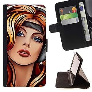 Momo Phone Case / Flip Funda de Cuero Case Cover - Arte Auriculares Música Ojos azules Mujer Chica - LG G2 D800