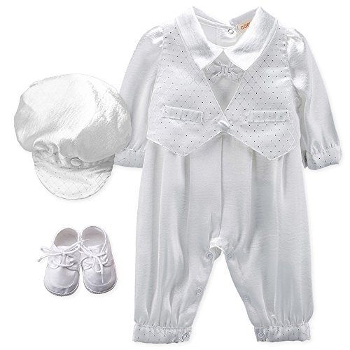 Baby Boy's 5 Pcs Set White Christening Baptism Outfits Cross Applique Embroidery Vest Long Sleeves Suit, 6-9 Months, Light White (Applique Baby Booties)