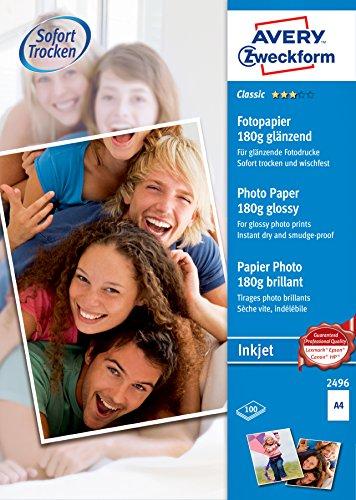 Avery Zweckform 2496 Classic Inkjet Fotopapier (A4, einseitig beschichtet, glänzend, 180 g/m²) 100 Blatt