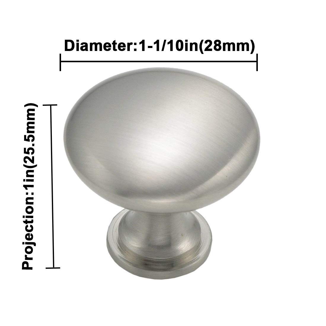London LH6050SNB metal color plateado Pack de 5 Nickel Knob Pomos de metal para puerta de armario