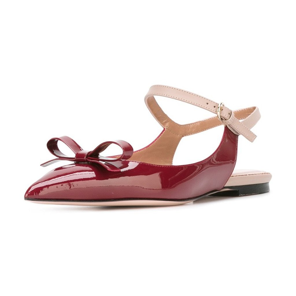 XYD Office Trendy Dress Slingback Flats Pointy Toe Bows Sandals Slip On Pumps Shoes for Women B071DP59PF 9 B(M) US|Scarlet