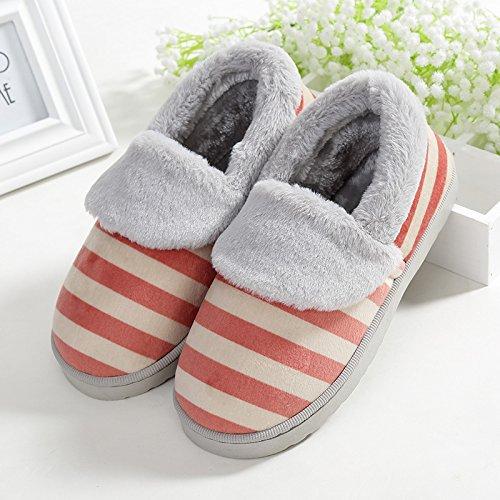 Y-Hui Autunno e Inverno SCARPE Indoor al di fuori del fondo spesso Slip uomo caldo cotone pantofole scarpe in inverno,40-41 (Fit per 39-40 piedi),Claret
