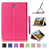 Galaxy Tab S2 9.7 Case, JCmax Premium Flip PU Leather Case [Kickstand Design] [Auto Sleep/Wake Feature] for Samsung Galaxy Tab S2 9.7 (SM-T815) Tablet + One Stylus Pen -Hot Pink