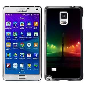 TopCaseStore / la caja del caucho duro de la cubierta de protección de la piel - Night Rainbow City Black - Samsung Galaxy Note 4 SM-N910