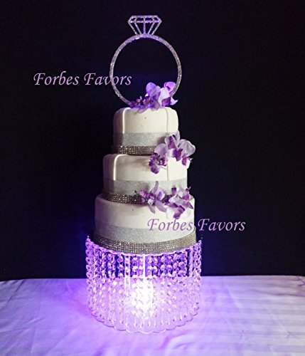 "Forbes Favors ™ Single Acrylic Crystal Chain Chandelier Cake Stand With Battery LED Lights for Wedding Cake, Anniversary or Special Occasion ( Available in 6"", 8"", 10"", 12"" or 14"" Diameters )"