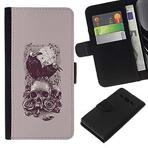 All Phone Most Case / Oferta Especial Cáscara Funda de cuero Monedero Cubierta de proteccion Caso / Wallet Case for Samsung Galaxy A3 // Raven Poe Death Vampire Skull Grey