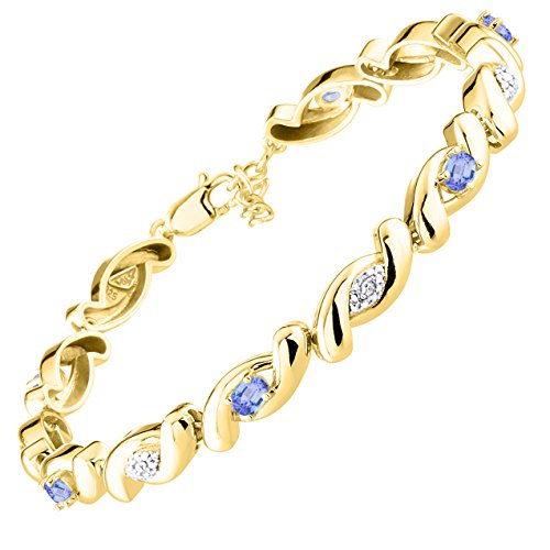 Stunning Tanzanite & Diamond Tennis Bracelet Set in Yellow Gold Plated Silver - Adjustable to fit 7