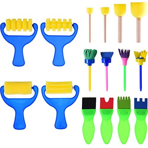 Sumind 16 Pieces Sponge Painting Brushes Kids Painting Kits Early Learning Foam Brushes for DIY Art Crafts