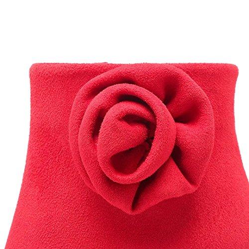 Winter AIYOUMEI High Stiefeletten Stiletto Schuhe Blumen mit Plateau Heels Damen Extrem Stiefel und Rot Hochzeit 5AqAwUHW