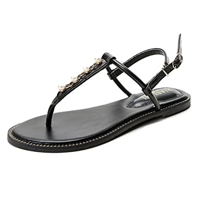 88670fcba Image Unavailable. Image not available for. Color  GIY Womens T-Strap Flat  Sandals Ankle Buckle Gladiator Pearl Thong Flip Flop Casual Sandal