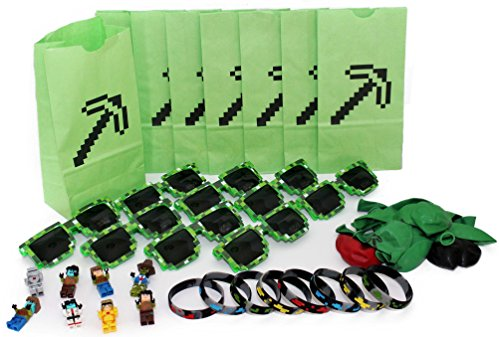 The Ultimate Party Favors for Miner Themed Birthday Party - 8 Pack of Supplies - Fun Party Additions! Green Pixelated Glasses, Wristbands, Character Toys and Balloons will make the Party - Pixel Sunglasses Party