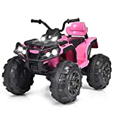 Costzon Kids Ride On ATV, 12V Battery Powered 4 Wheels Quad w/Spring Suspension, High/Low Speeds, Headlights, MP3, Horn, TF, USB, Radio Functions, Electric Vehicle for Boys and Girls (Pink)