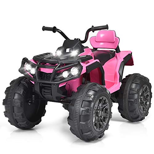 Costzon Kids Ride On ATV, 12V Battery Powered 4 Wheels Quad w/Spring Suspension, High/Low Speeds, Headlights, MP3, Horn, TF, USB, Radio Functions, Electric Vehicle for Boys and Girls (Pink) (Atv Boys)