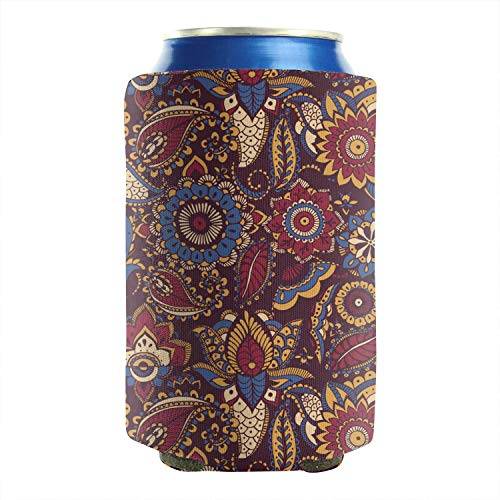 Colorful Persian Paisley Aluminum Bottles Cans Cooler Covers Neoprene Insulated Collapsible Wedding Favor 12 to 16 oz - Bottle Paisley Park Bag