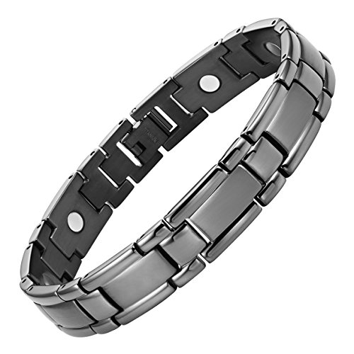 Titanium Magnetic Therapy Bracelet For Arthritis Pain Relief Gunmetal Colour Size Adjusting Tool and Gift Box Included By Willis ()