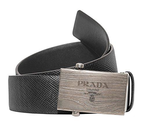 Prada Box Frame Engraved Buckle Saffiano Reversible Leather Belt (Black/Gray, EU:90 US:36) (Prada Belted Belt)