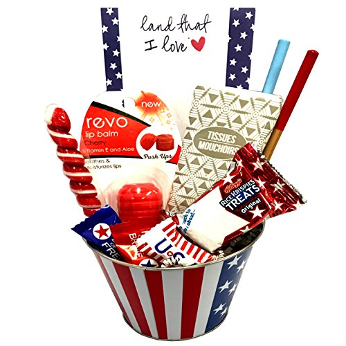 (Patriotic Gourmet Snack Gifts - American Independence Gift Basket - July 4th Care Package - Featuring American Red, White and Blue Snack Foods (Land That I Love Patriotic Gift Basket))