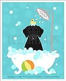 165D - Black Labrador Retriever Dog in Bubble Bath Bathtub UNFRAMED Wall Art Print by Lee ArtHaus