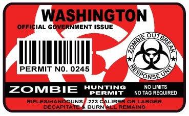 Washington Zombie Hunting Permit Sticker Size: 4.95x2.95 Inch (12.5x7.5cm) Cu...