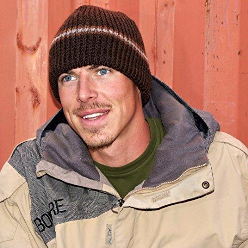 Icebox Knitting Dohm Classic Stripe Winter Wool Brown Hat Beanie Skull Cap For Men and Women