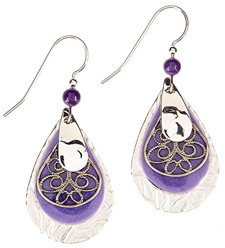 - Silver Forest Surgical Steel Layered Filigree Teardrop Earrings E-8061D