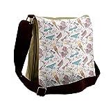 Lunarable Doodle Messenger Bag, Summer Pattern Swimsuits, Unisex Cross-body