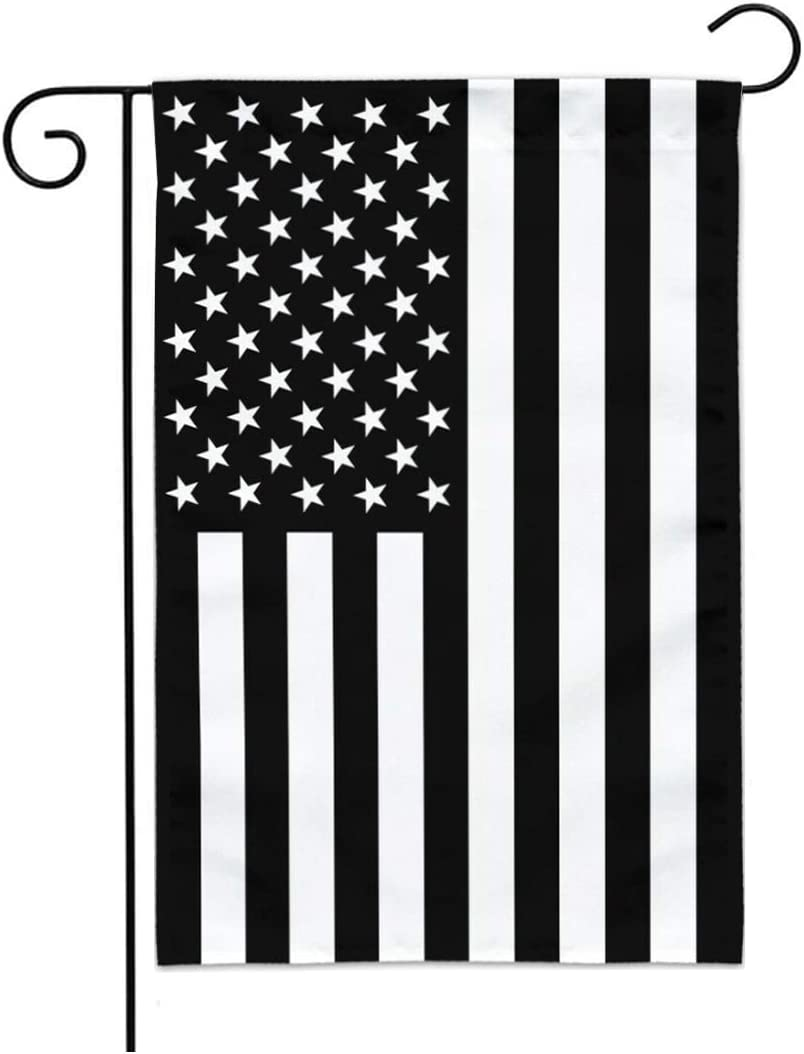 FRF American Garden Flag Black and White Recession USA Flags 12.5 x 18 Inch BW Double Sided Outdoor Garden Yard Flag Decoration