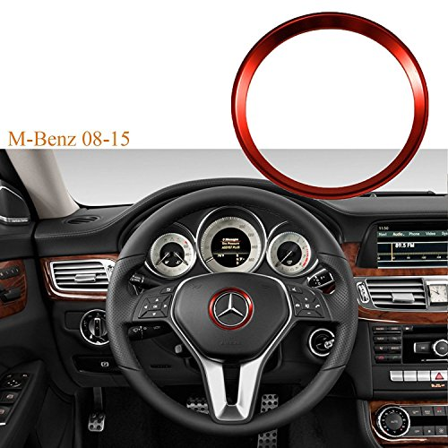 Glossy Red Car 3D Steering Wheel Center Logo Ring Trim For Mercedes Benz B C GLK [Red] (Truck Benz Mercedes Center)