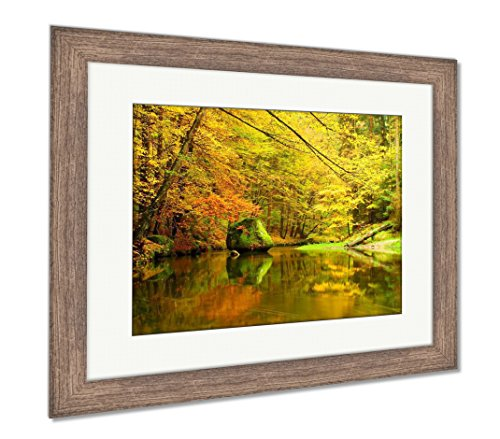Big Boulders with Fallen Leaves Autumn Mountain River Banks Fresh Green Mossy, Wall Art Home Decoration, Color, 30x35 (Frame Size), Rustic Barn Wood Frame, AG6046111 ()