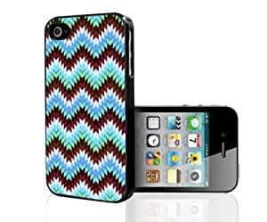 Burgundy and Teal Zig-Zag Chevron Pattern Hard Snap on Phone Case (iPhone 4/4s)