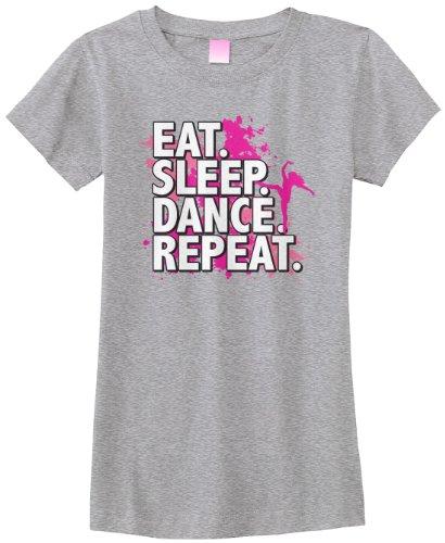 Threadrock Big Girls' Eat Sleep Dance Repeat Fitted T-Shirt XL Sport Gray - Ringspun Dance T-shirt