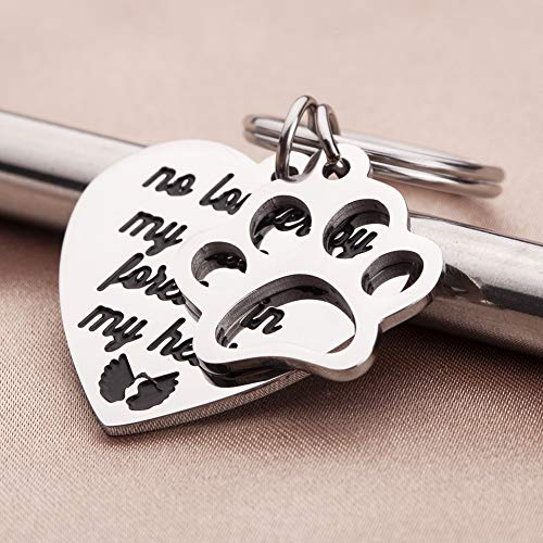 Dog Paw Print Nose Print Cat Pet Engraved Stainless Steel Keychain Memorial Gift
