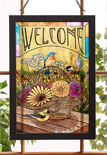 Darby Creek Trading Songbirds and Flowers Stained Glass Art Hanging - Stained Glass Songbirds