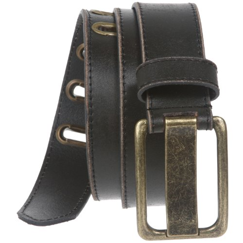 Leather Distressed Belt Black - 35 mm (1 3/8