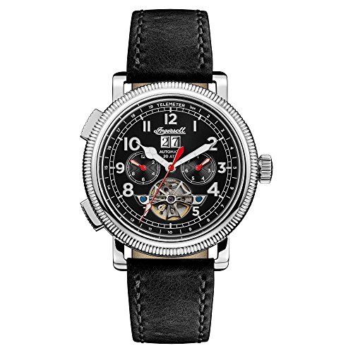 Ingersoll Men's Automatic Stainless Steel and Leather Casual Watch, Color:Black (Model: I02603)
